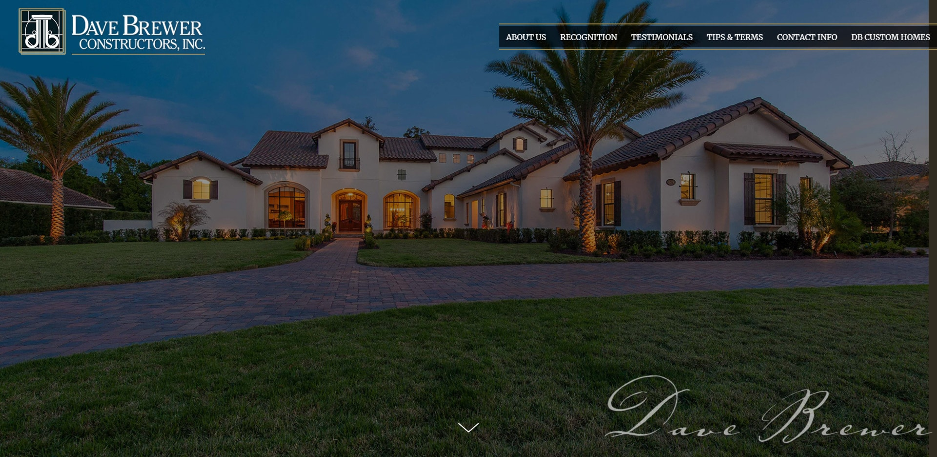screenshot of website for Dave Brewer Constructors after redesign