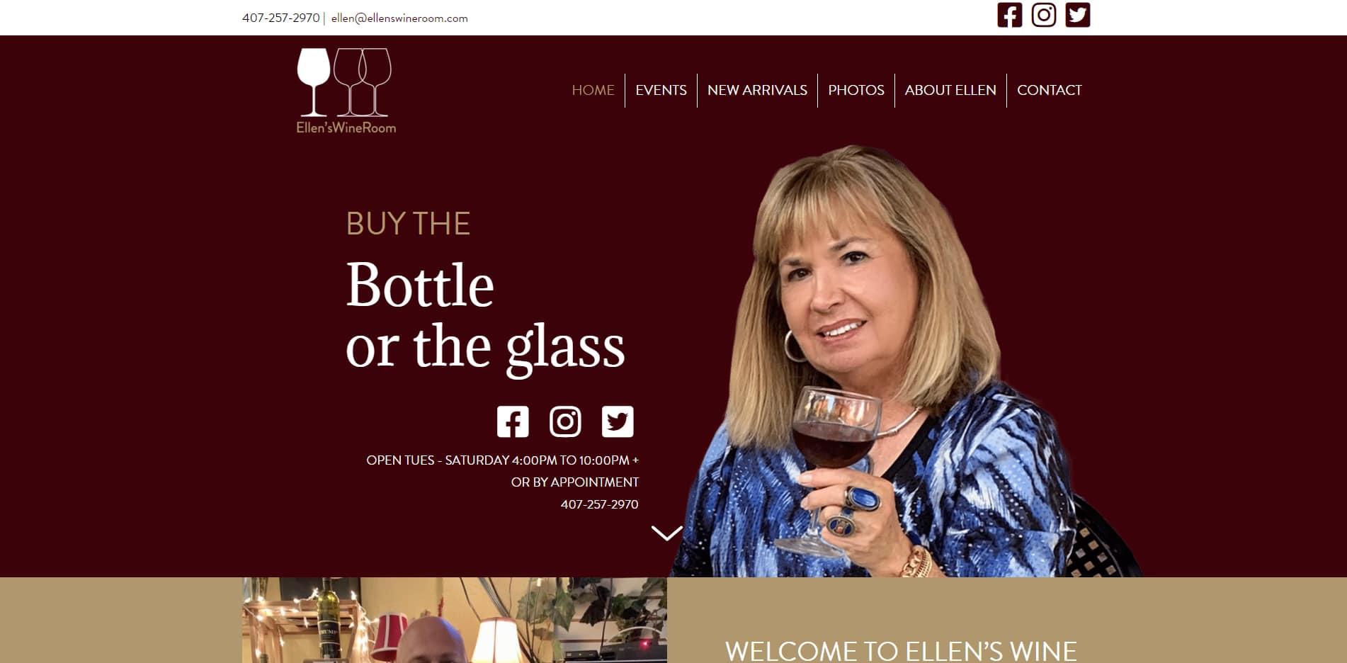 Screenshot of web design for Ellens Wine Room
