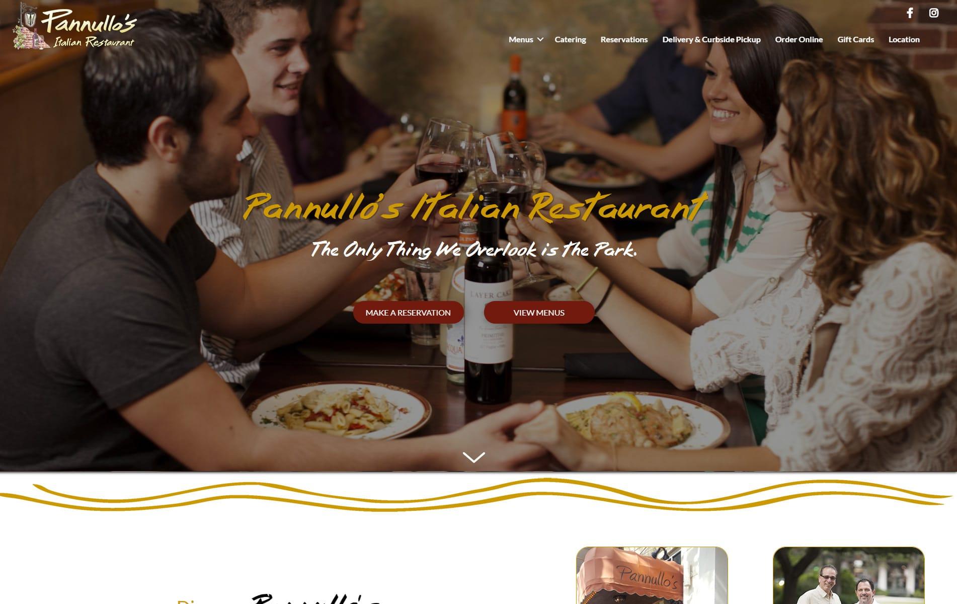 Screenshot of Pannullos Italian Restaurant Web Site