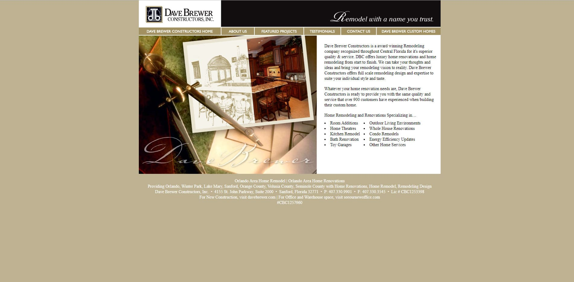 Screenshot of Dave Brewer Constructors Web Site before Redesign