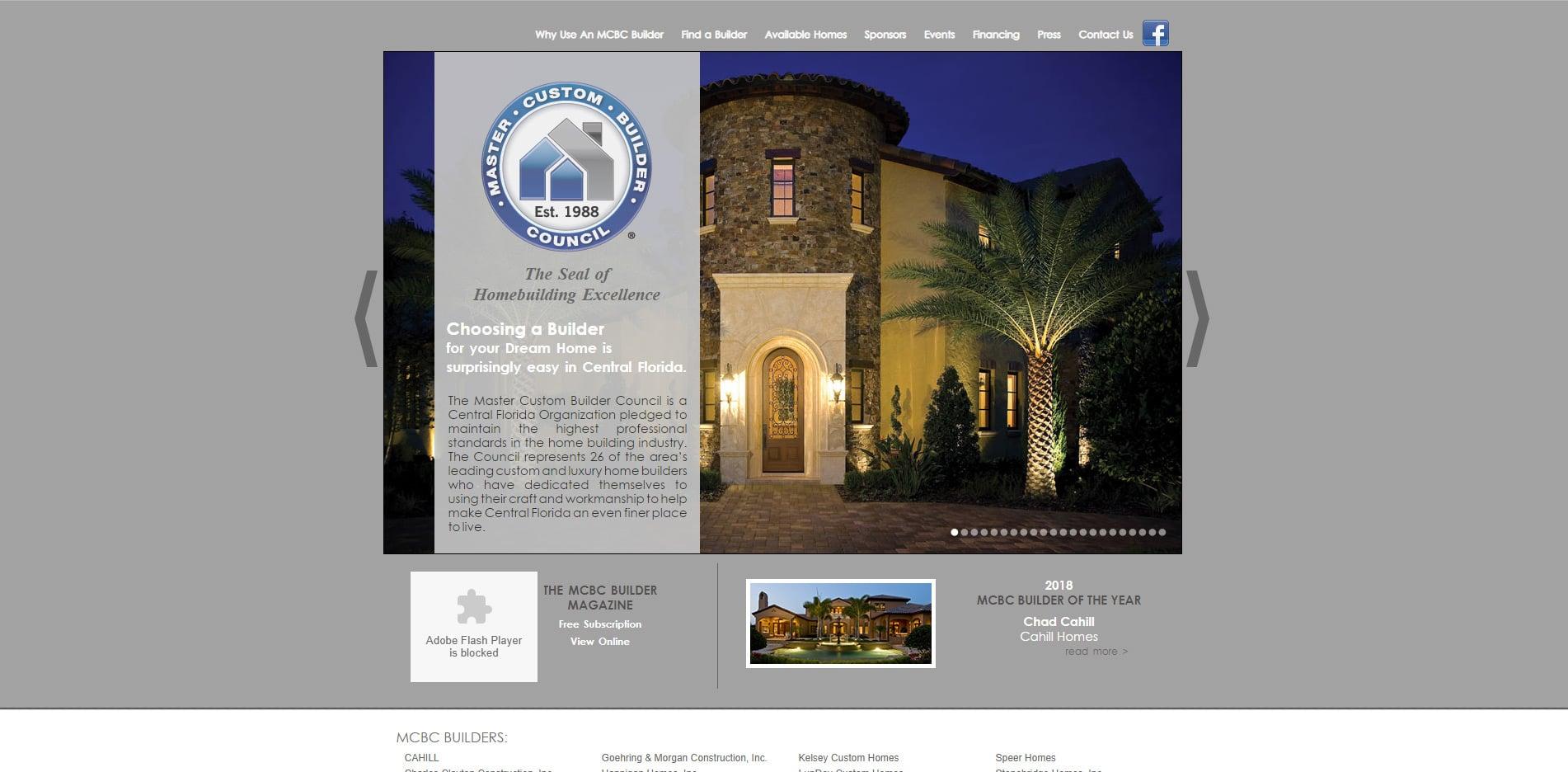 Before redesign Photo of Master Custom Builder web site