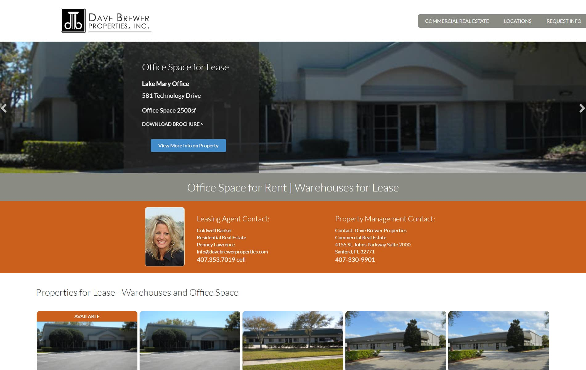 Screenshot of Sanford Lake Mary Properties Web Site