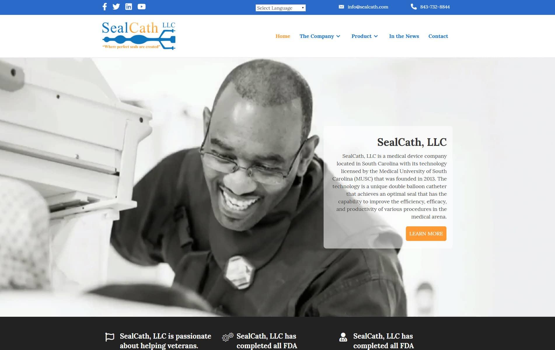 Screenshot of SealCath Web Site